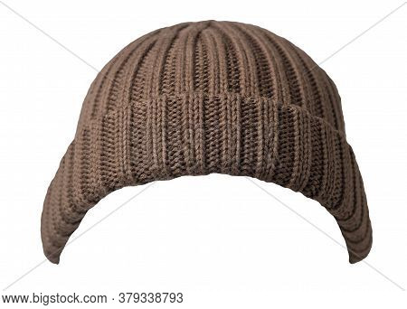 Docker Knitted Brown Hat Isolated On White Background. Fashionable Rapper Hat. Hat Fisherman