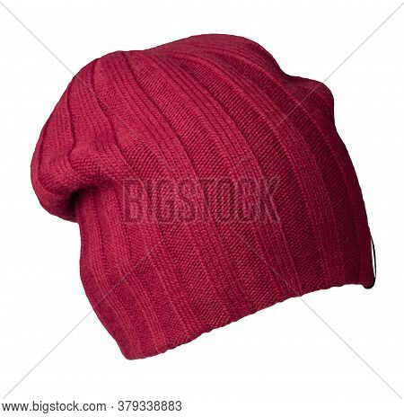 Knitted Red Hat Isolated On A White Background.fashion Hat Accessory For Casual Style