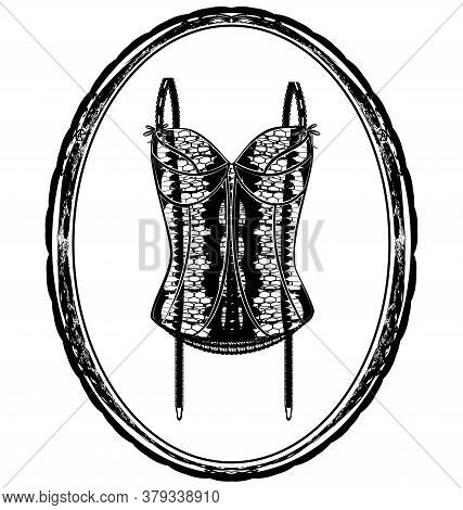 Vector Illistration Abstract Black Corset And Frame
