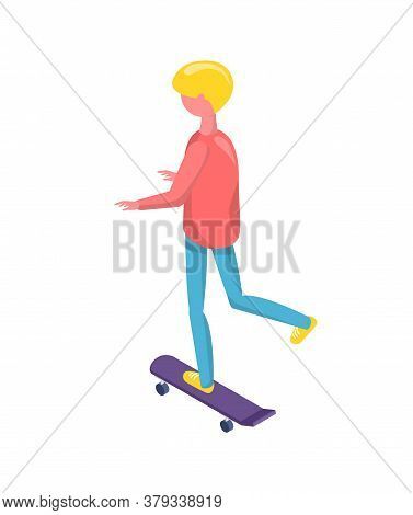 Back View Of Person Standing On Skateboard, Human Character Wearing Casual Clothes, Child Or Adult A