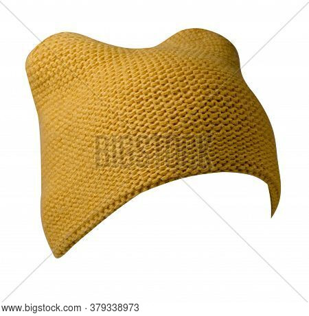 Womens Yellow Hat . Knitted Hat Isolated On White Background.