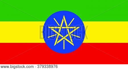 Flag Of Ethiopia. Vector Illustration As Background