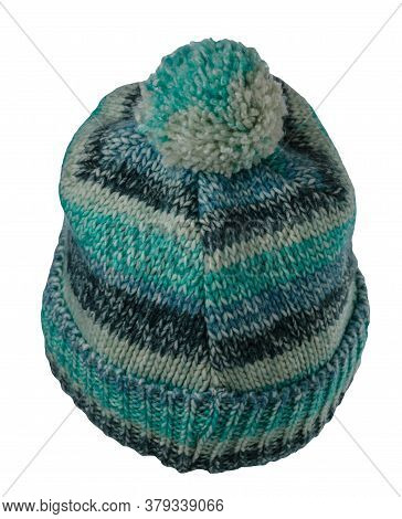 Knitted Green Blue Gray Hat Isolated On White Background.hat With Pompon .