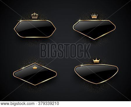 Luxury Black Glass Labels With Golden Crown And Frame On A Black Background. Premium Design. Luxury