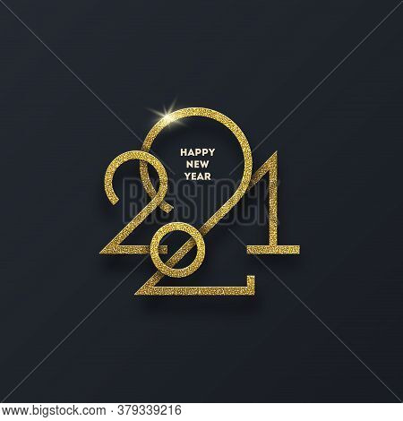 Golden 2021 New Year Logo. New Year Glitter Gold Sign, Holiday Greeting Card. Vector Illustration. H