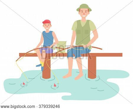 Family Outdoor Recreational Activities, Happy Parent Sitting With Son And Fishing, Father And Kid Sp