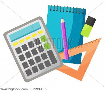 Calculating Device Vector, Isolated Notebook And Pencil. Mathematics Lesson, Eraser And Textbook, Pa