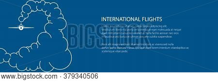 Banner Of Plane In The Sky In The Clouds, Airplane In The Exhaust, White Plane On Trendy Blue Backgr