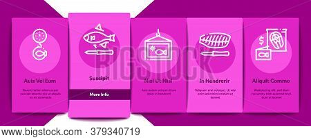 Fishing Industry Business Process Onboarding Mobile App Page Screen Vector. Fishing Industry Process