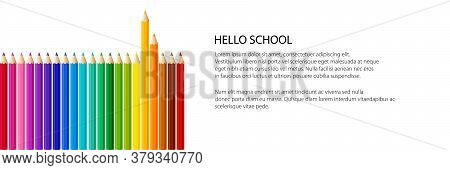 Pencils In A Row Banner, Orange And Yellow Pencils Above, Rainbow Pencils On White Background, Vecto