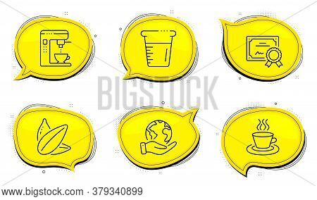 Tea Cup Sign. Diploma Certificate, Save Planet Chat Bubbles. Cooking Beaker, Coffee Maker And Sunflo