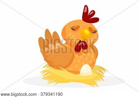 Layer Chicken. Cute Layer Chicken Hatching Egg In Straw Nest. Creature Icon Isolated On White Backgr