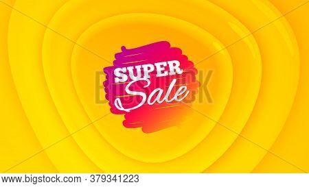 Super Sale Badge. Geometric Plastic Design Banner. Discount Banner Shape. Coupon Bubble Icon. Orange