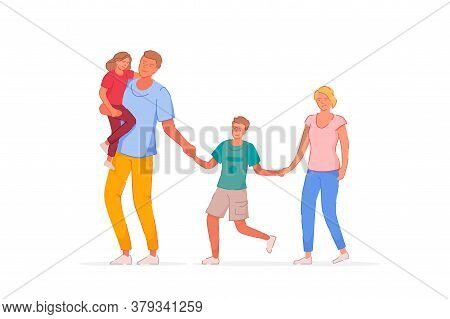 Walking Family. Father, Mother, Son And Daughter Walking Outside Together. Family Couple With Childr