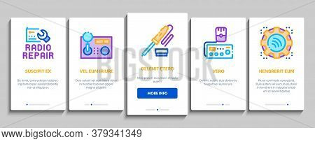 Radio Repair Service Onboarding Mobile App Page Screen Vector. Radio Repair Electronic And Mechanica