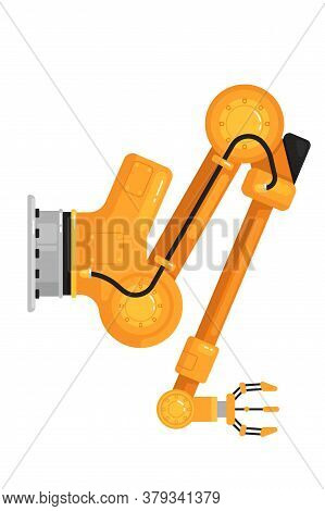 Robotic Hand Gripper. Isolated Robotic Arm Hydraulic Automation Icon. Industrial Robot Hand. Flat Ve