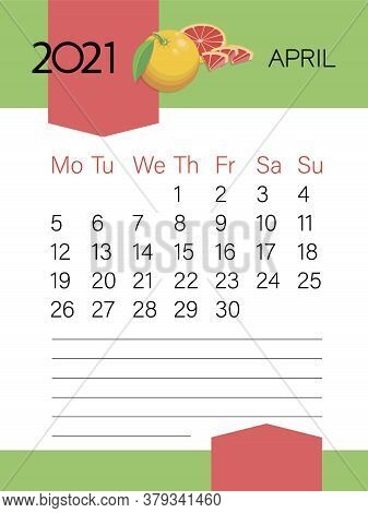 April 2021. Calendar Template. Grapefruit Fruit. Page. Planner Diary In A Minimalist Style. Corporat