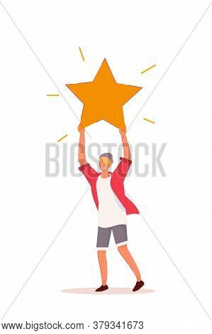 Quality Rating. Teenager Man With Rating Star Over Head Isolated On White Background. Consumer Feedb