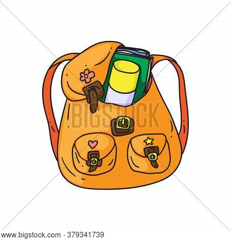 Orange Backpack. Isolated Cartoon School Or College Bag With Pockets, Books And Straps Doodle Icon.