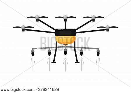 Agriculture Drone. Isolated Light Aircraft Spraying Chemicals Front View. Vector Drone Spraying Pest
