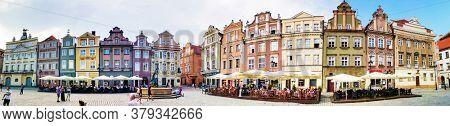 POZNAN, POLAND - September 2, 2019: Restaurants in Old Town Poznan, Poland