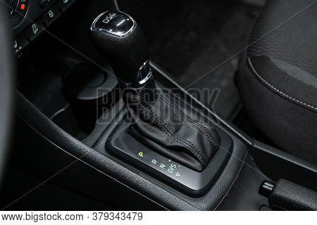 Novosibirsk/ Russia - August 01 2020: Scoda Rapid, Gear Shift. Automatic Transmission Gear Of Car ,