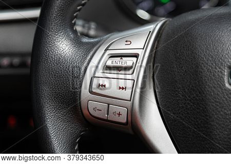 Novosibirsk/ Russia - August 01 2020: Nissan X-trail, New Black Steering Wheel With Multifunction Bu