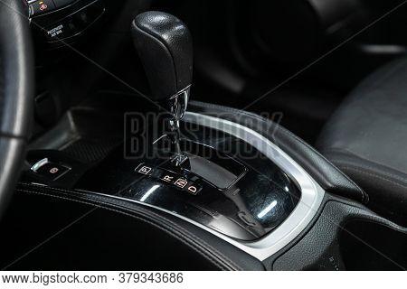 Novosibirsk/ Russia - August 01 2020: Nissan X-trail, Gear Shift. Automatic Transmission Gear Of Car