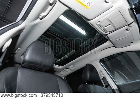 Novosibirsk/ Russia - August 01 2020: Nissan X-trail, Close-up Of The Hatch On Gray Roof. Modern Car