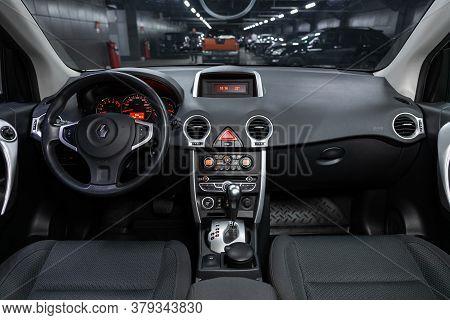 Novosibirsk/ Russia - August 01 2020: Renault Koleos, Dark Car Interior - Steering Wheel, Shift Leve
