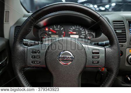 Novosibirsk/ Russia - August 01 2020: Nissan Navara, Cockpit Interior Cabin Details, Speedometer And