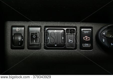 Novosibirsk/ Russia - August 01 2020: Nissan Navara, Close-up Of The  Headlight And Side Mirror Sett