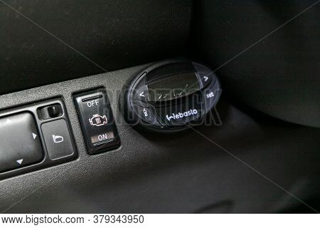 Novosibirsk/ Russia - August 01 2020: Nissan Navara, Close-up Of The   Webasto  Setting Buttons . Mo