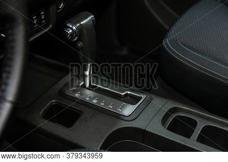 Novosibirsk/ Russia - August 01 2020: Nissan Navara, Gear Shift. Automatic Transmission Gear Of Car