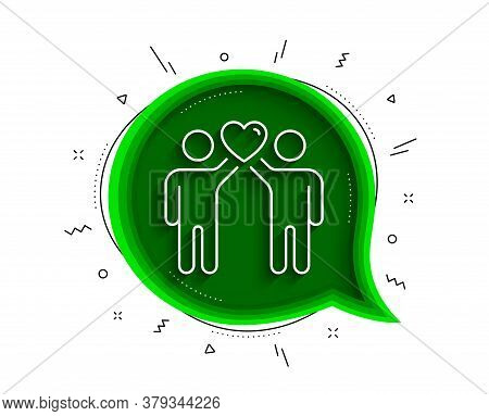 Friends Couple Line Icon. Chat Bubble With Shadow. Friendship Sign. Assistance Business Symbol. Thin