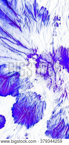 Indigo Splash Dyed Fabric. Paintbrush Background Seamless Water Color Pattern. Modern Denim Paintbru