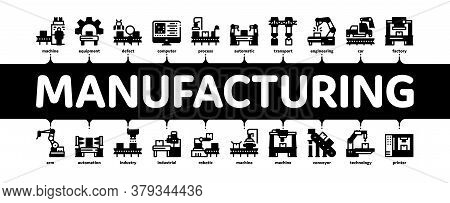 Manufacturing Process Minimal Infographic Web Banner Vector. Manufacturing Conveyor Car And Products