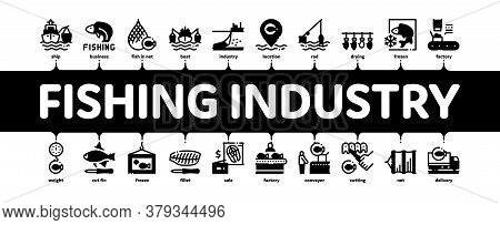 Fishing Industry Business Process Minimal Infographic Web Banner Vector. Fishing Industry Processing