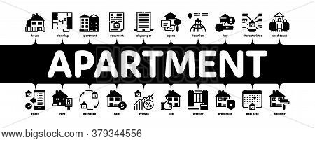 Apartment Building Minimal Infographic Web Banner Vector. Apartment Floor Plan Architectural Project