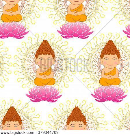 Cute Buddha Seamless Pattern With Mandala Background For Indian, Buddhism And Spiritual Wallpaper An