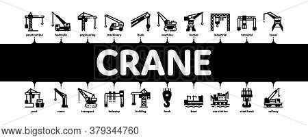 Crane Building Machine Minimal Infographic Web Banner Vector. Crane Port Construction For Unloading