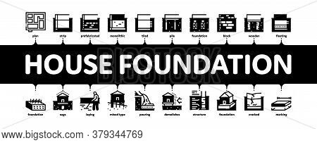 House Foundation Base Minimal Infographic Web Banner Vector. Concrete And Brick Building Foundation,
