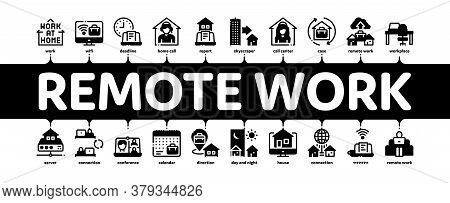 Remote Work Freelance Minimal Infographic Web Banner Vector. Work At Home, Internet Job And Online C