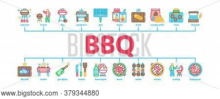 Bbq Barbecue Cooking Minimal Infographic Web Banner Vector. Bbq Fried Meat And Shrimp, Fish And Baco