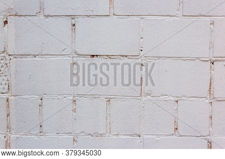 Abstract White Color Brick Wall Texture For Background. Textured Background Illustration. Abstract W