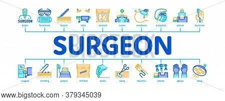 Surgeon Medical Doctor Minimal Infographic Web Banner Vector. Surgeon Facial Mask And Glasses, Scalp