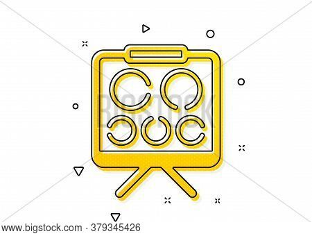 Oculist Eye Clinic Sign. Vision Board Icon. Optometry Symbol. Yellow Circles Pattern. Classic Vision