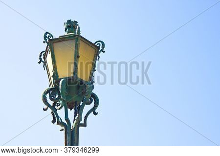 Typical Classic Portuguese Streetlight - Image With Copy Space