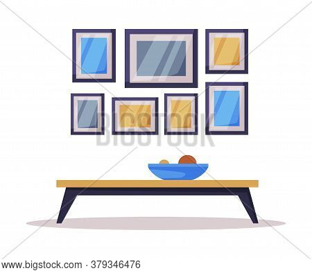 Modern Room Interior Design, Coffee Table Comfy Furniture And Home Decoration Accessories Vector Ill