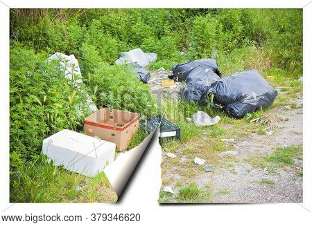 Illegal Dumping With Bottles, Boxes And Plastic Bags Abandoned In Nature - Concept Imega With Ripped
